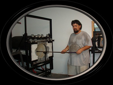 Rich Fizer working with a blowpipe